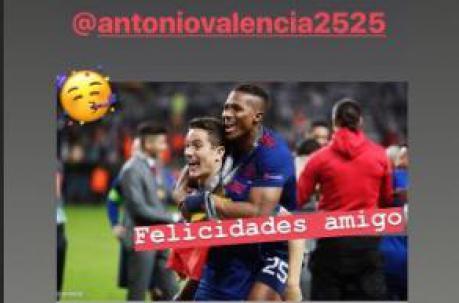 Ander Herrera felicitó a Antonio Valencia. Foto: Captura de pantalla